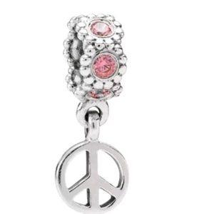 Pandora pink peace sign dangle charm 790516CZS